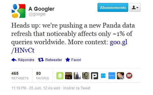Tweet Google Panda 3.8