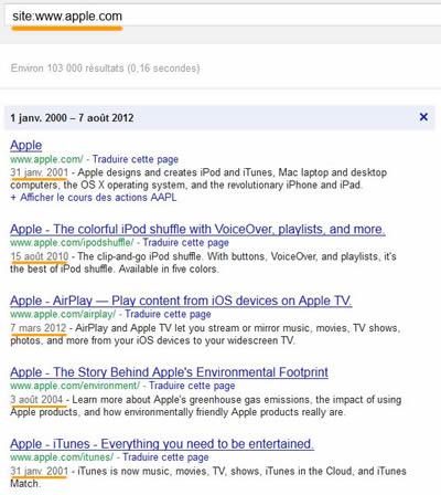 ancienneté du site Apple